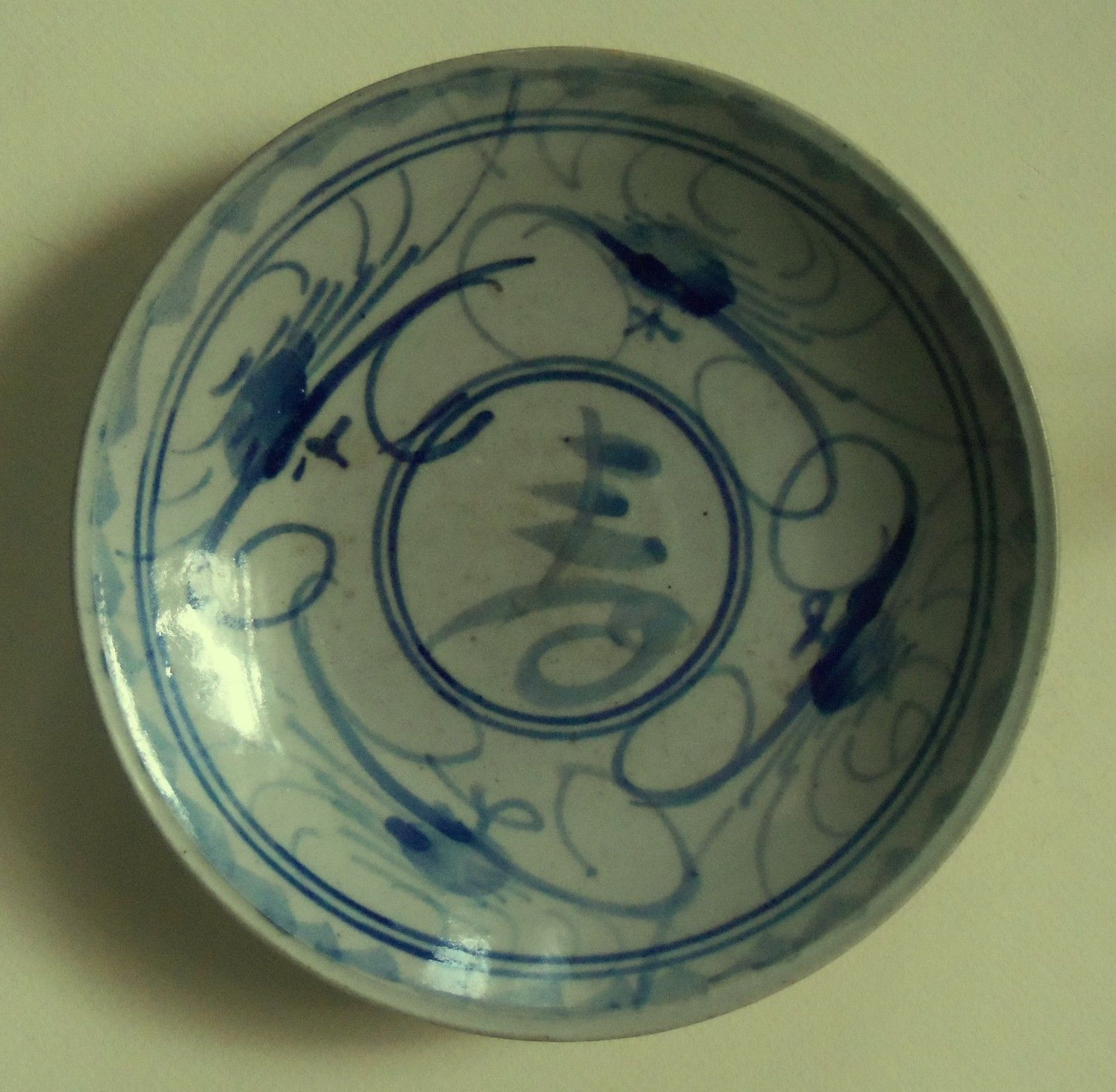 Chinese Swatow Ware Dish Crab And Calligraphy Cobalt