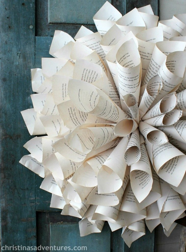 Rolled Book Page Wreath Wreaths Books And Wreath Tutorial