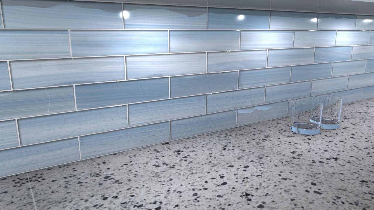 - Big Blue 3x12 Glass Tile Perfect For Kitchen Backsplashes And