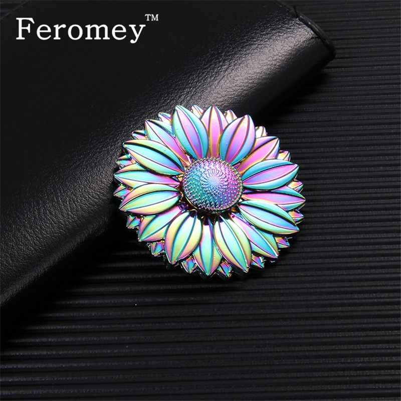 Multicolor Metal Hand Spinner Rainbow Flower Finger Spiner Stress