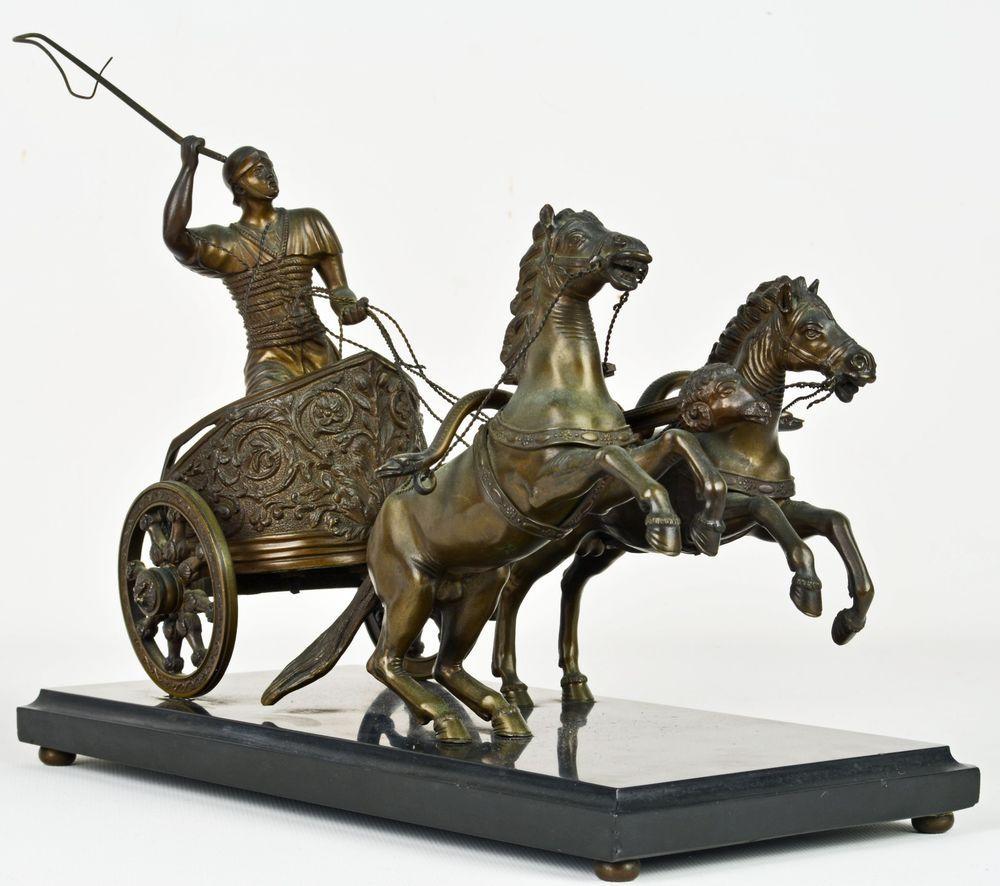 Roman Charioteer Rare Antique Italian Grand Tour Bronze Group Two  # Gufanti Muebles