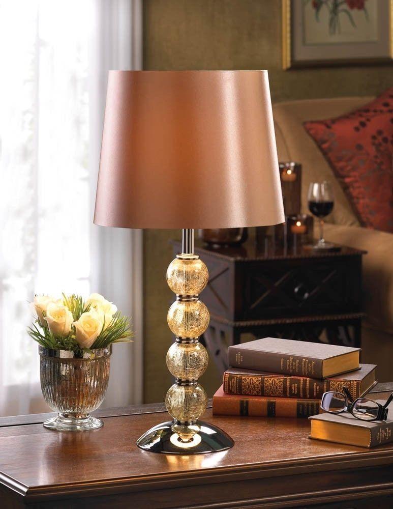 Modern Table Lamp Crackled Glass Balls Brown Shade Silver Base Living Room Decor Modern Table Lamp Glass Lamp Table Lamp #silver #living #room #lamps