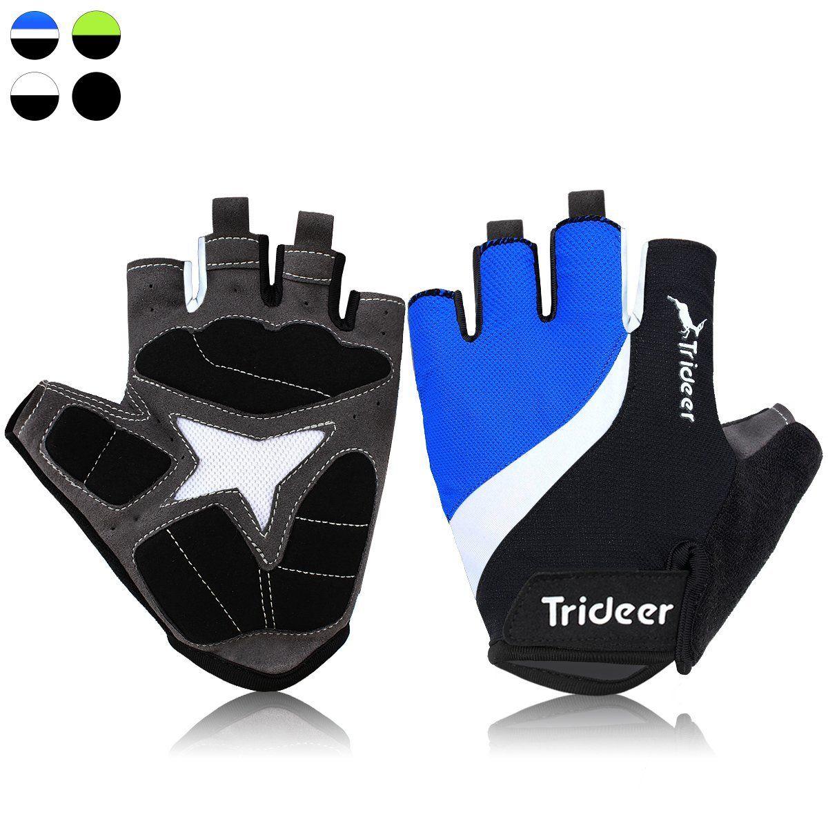 Trideer Cycling Biking Bike MTB Half Finger Gloves Black Blue White XL Gel Palm