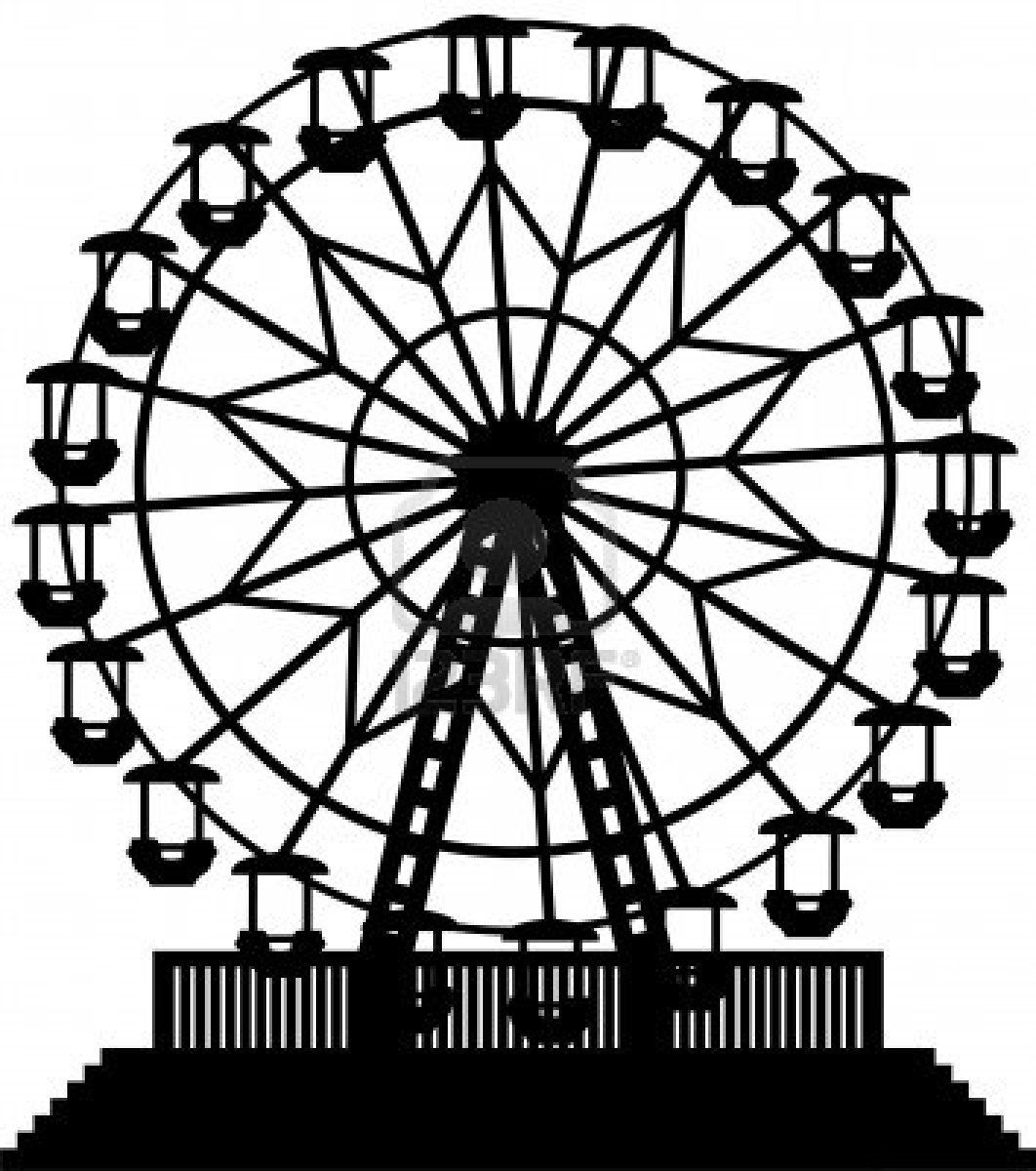A Cartoon Silhouette Of A Ferris Wheel At An Amusement Park Cartoon Silhouette Silhouette Painting Stock Illustration