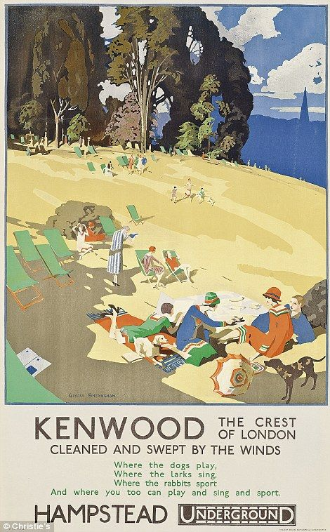 """ORIGINAL LONDON UNDERGROUND POSTERS - A picnic spot """"cleaned and swept by the winds""""???"""
