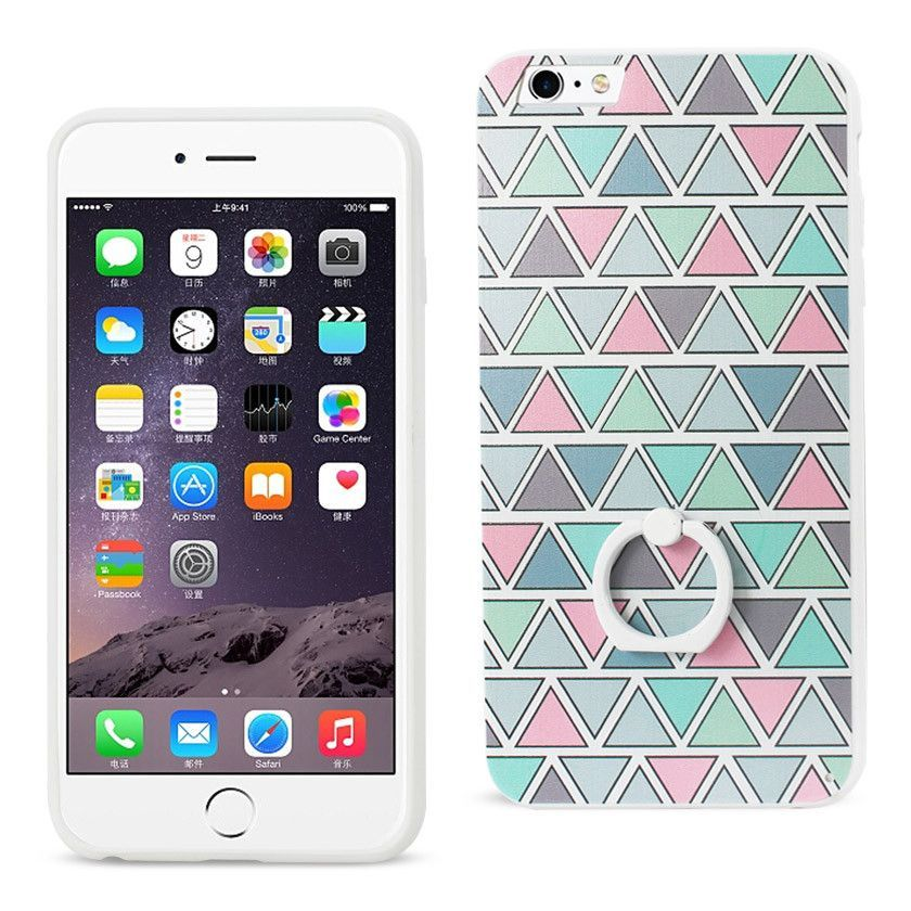 REIKO IPHONE 6 PLUS/ 6S PLUS TRIANGLE PATTERN TPU CASE WITH ROTATING RING STAND HOLDER