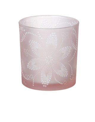 Pink Etched Glass Tealight Holder