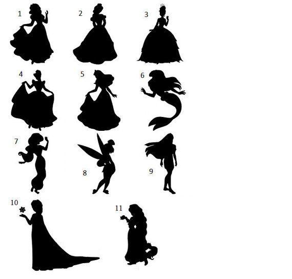 autocollant de vinyle silhouette princesse disney