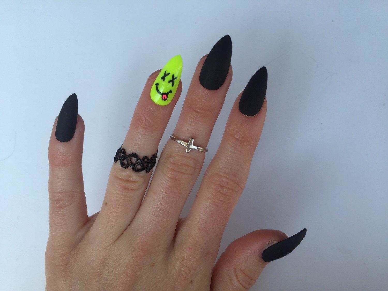 24 Neon Smiley and Matte Black Stiletto nails, Neon Festival nails ...