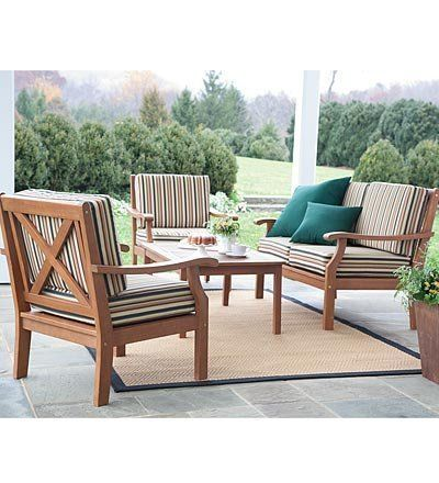 Claremont All Weather Eucalyptus X Back Patio Seating Set With