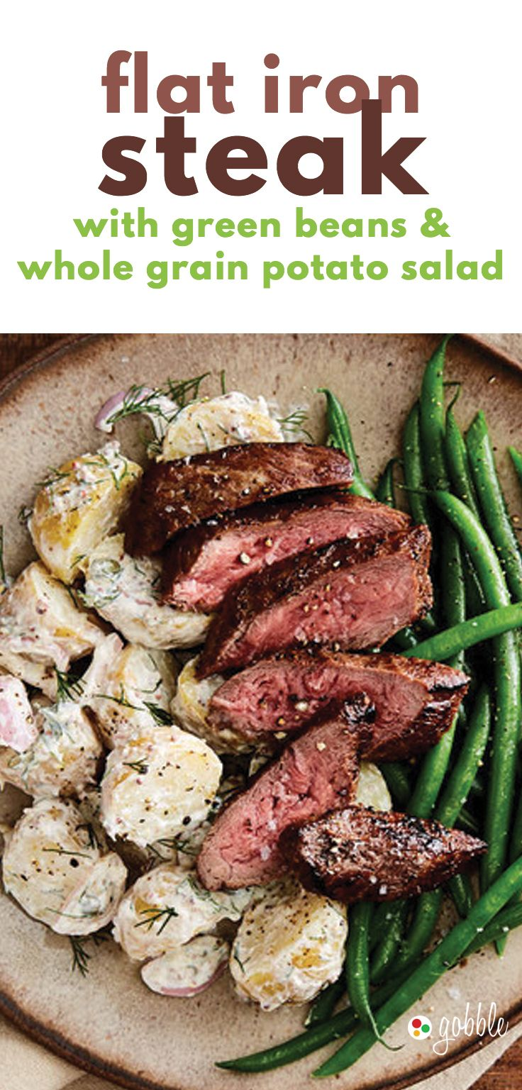 Gobble | Flat Iron Steak With Green Beans And Whole Grain Potato Salad | Dinner in 15 Minutes | Dinner For Two | Quick and Easy Recipes | New Recipes To Try | Cook At Home | Healthy Meals Made With Fresh Ingredients | What To Have For Dinner | Dinner Reci