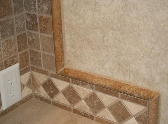 Bad Example, But I Want To Add Some Pencil Trim Above The Diamond Tile On  The Bathtub.