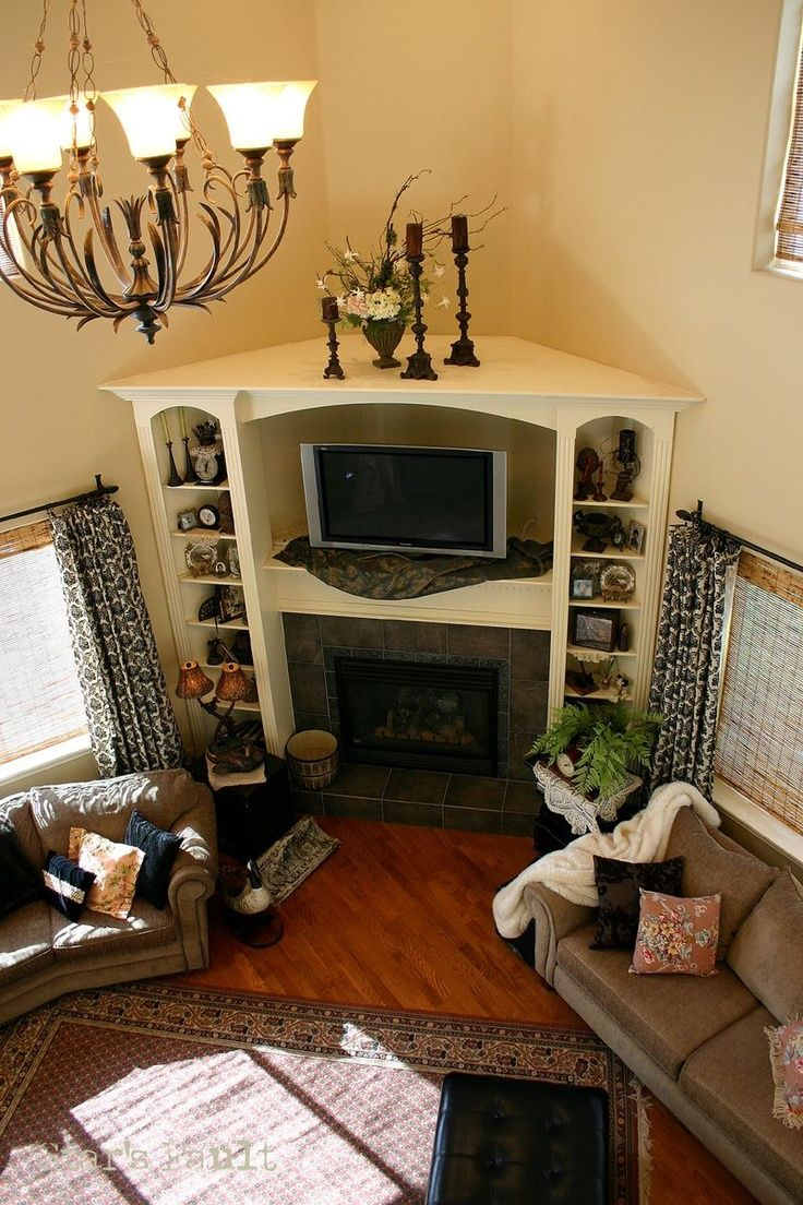 Built In Entertainment Center With Corner Fireplace