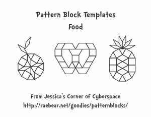 A series of printable pattern block mats featuring food letter a series of printable pattern block mats featuring food spiritdancerdesigns Gallery