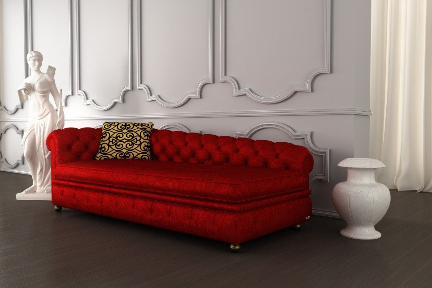 Luxury Tufted Vibrant Red Angled Chaise Sofa