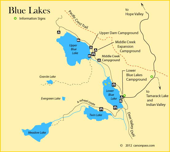 map of blue lakes area campgrounds on carson pass ca sorensens