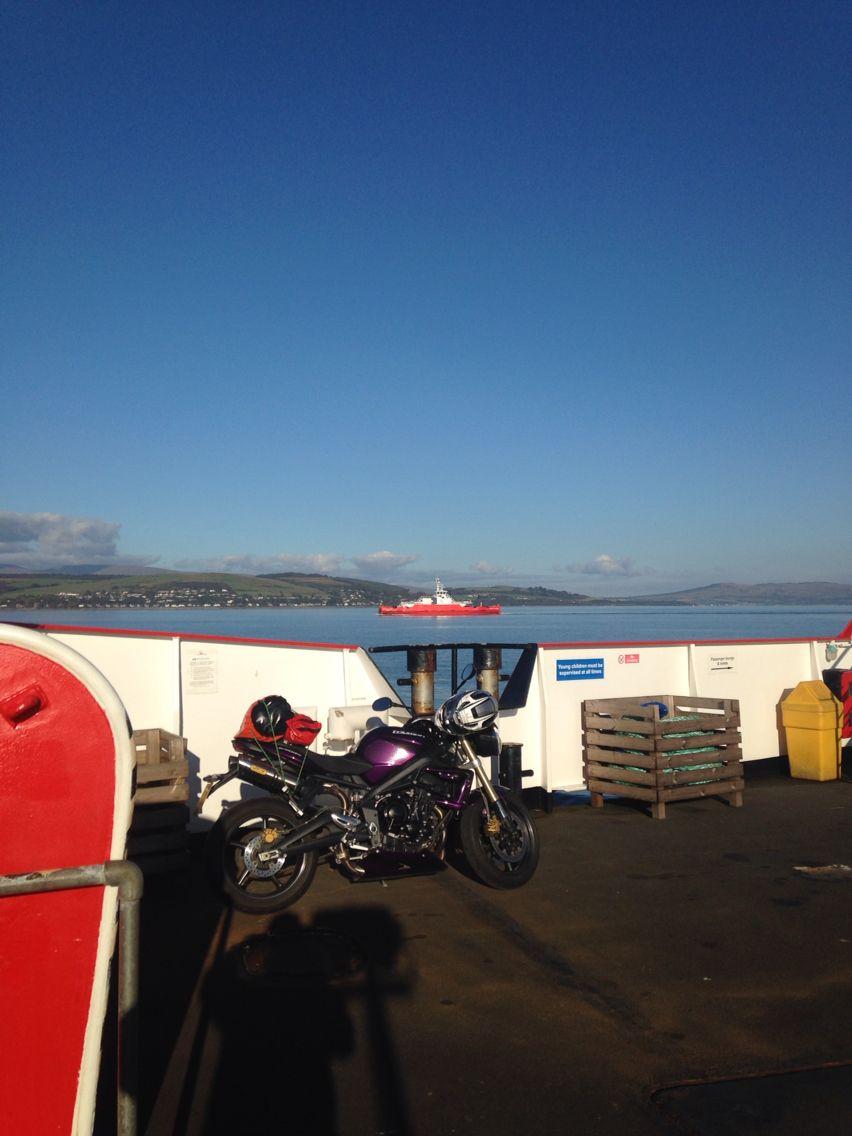 Street Triple on ferry to Argyll.