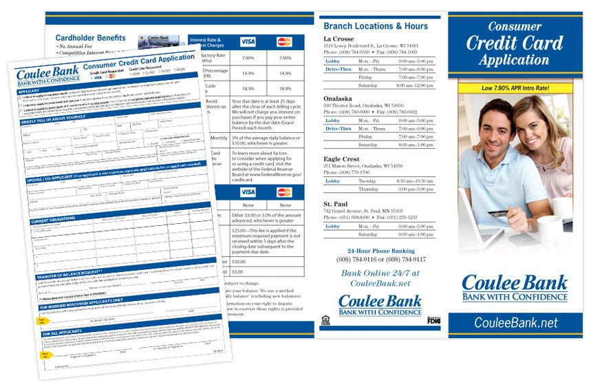Coulee bank consumer credit card application brochure