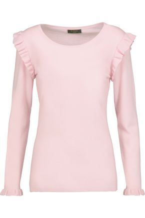 N.PEAL WOMAN RUFFLED CASHMERE SWEATER PASTEL PINK. #n.peal #cloth
