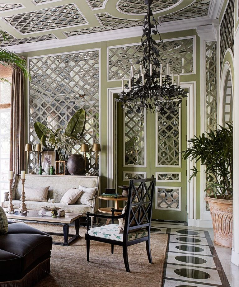 Jean Louis Deniot Room With Mirror Backed Trellis Wall