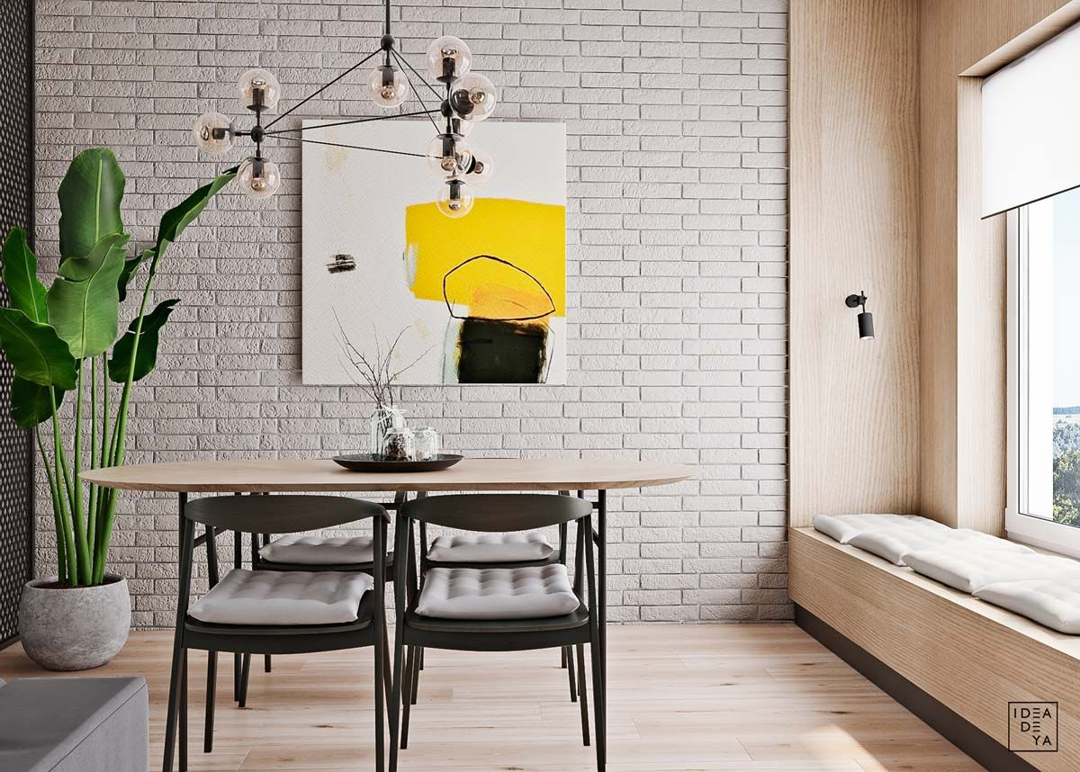 Unusual Home Layout With Creative Accent Colours Small