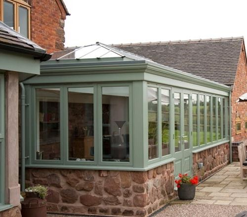 Chartwell Green Coloured Vintage Retro Conservatory Outdoor Living Space With Glazed Roof To Allow Pl Outdoor Living Conservatory Design Outdoor Living Areas