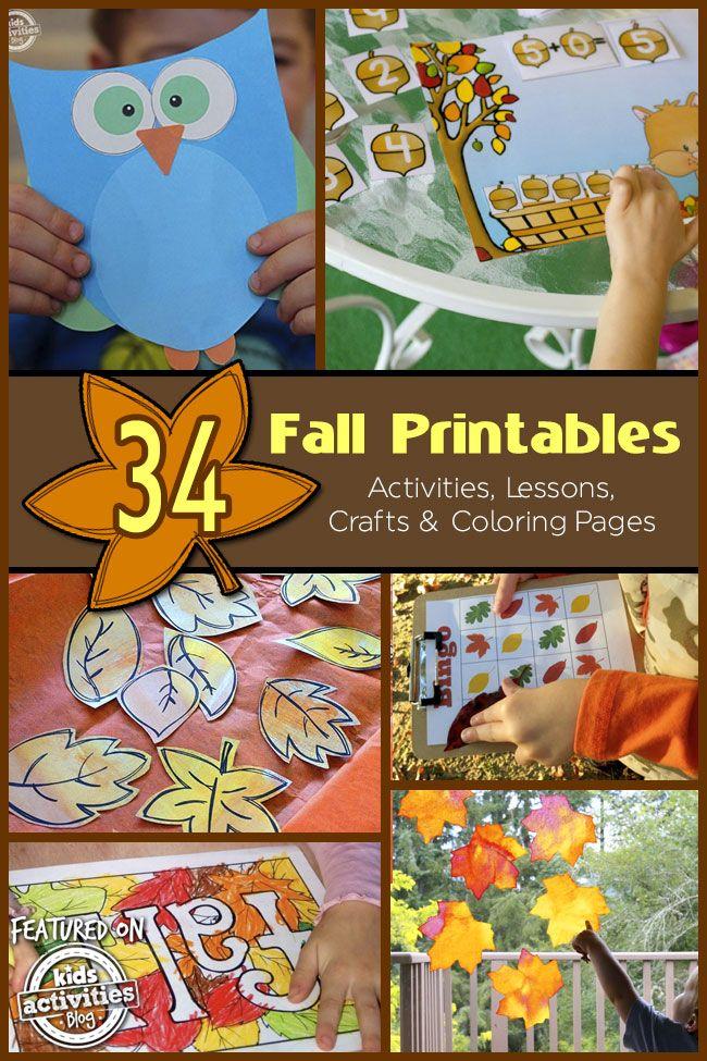 34 Fun Fall Printables. Love the owl!