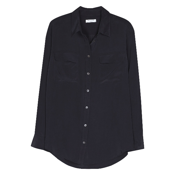 Equipment Black Signature Silk Shirt: Inspired by the archived original from the 70's, the Equipment shirt is inspired by menswear to create their signature shirt. The oversized fit and luxurious silk fabric mixed with the true black shade, creates the perfect timeless classic shirt. Everyone needs an understated, fine quality shirt in their wardrobe which you can continuously reach for as a staple effortlessly chic and elegant look.