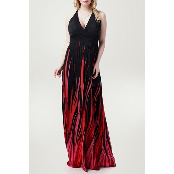 Sexy Halter Neck Sleeveless Ombre Plus Size Women\'s Prom Dress ...