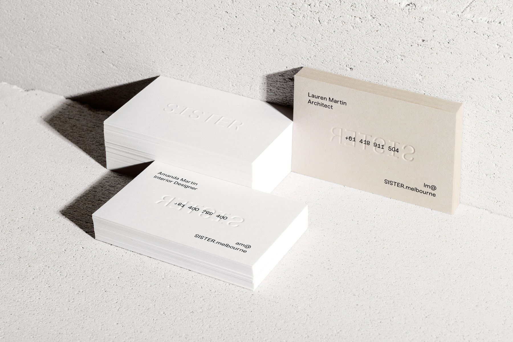 Business cards · sister an architecture and interior design studio run by sisters lauren and amanda martin