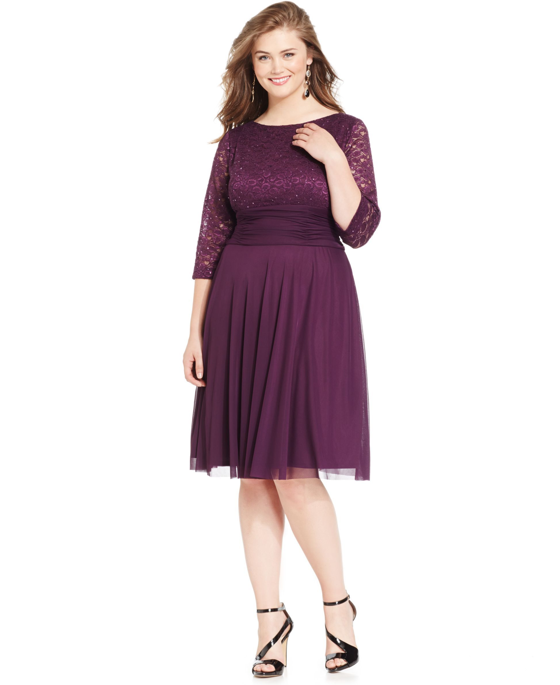 ab254e17c15 Jessica Howard Plus Size Lace Ruched Dress