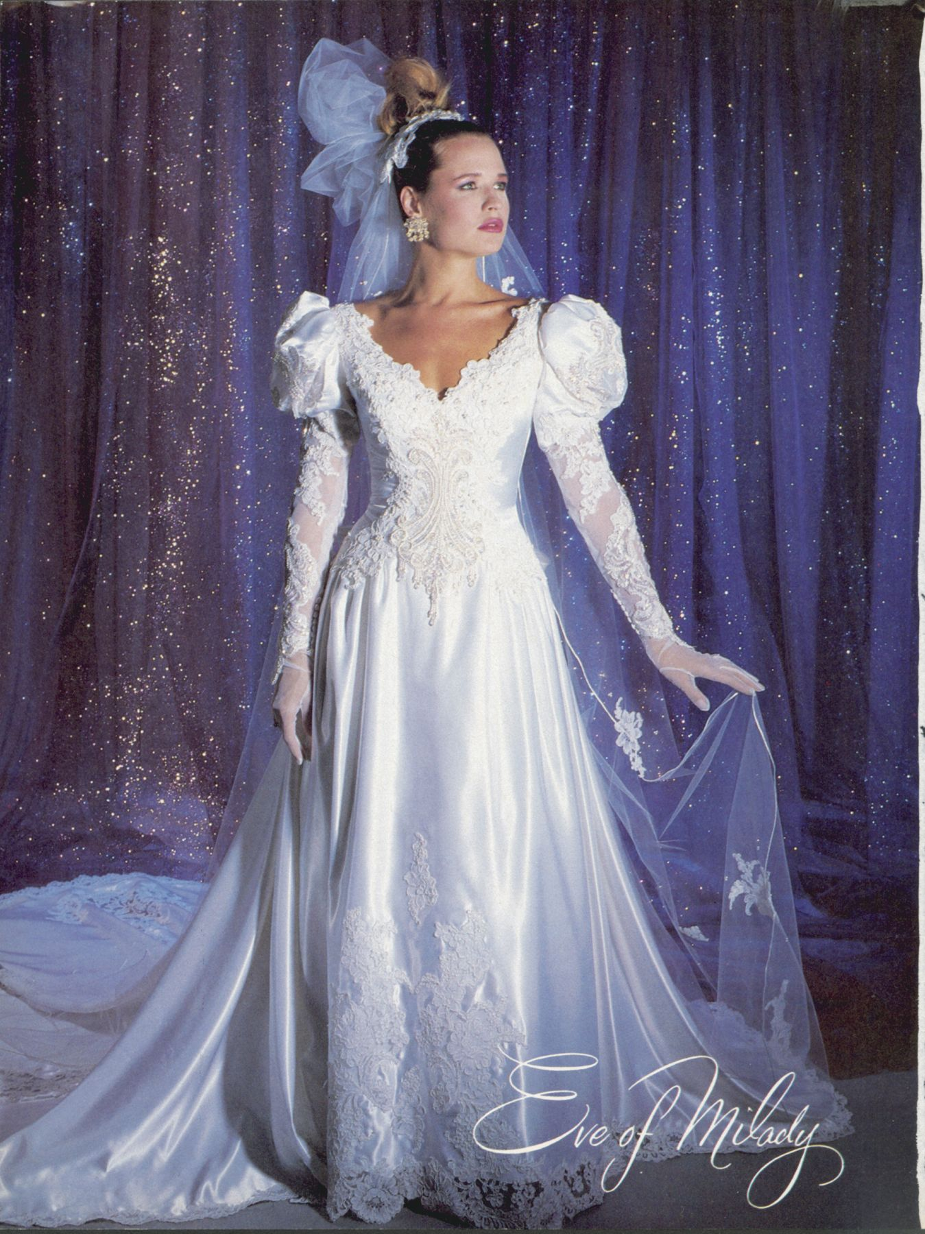 1980s Long Sleeve Open Back Wedding Dresses