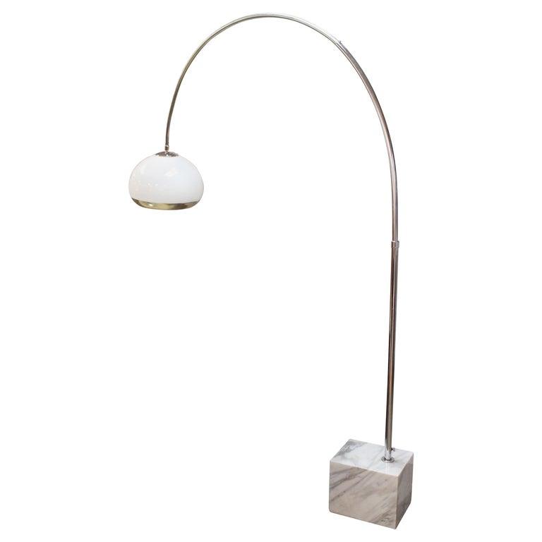 Mid Century Modern Guzzini White Marble Base Chrome Arc