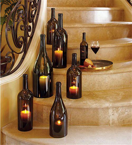 Velas en botellas de vino