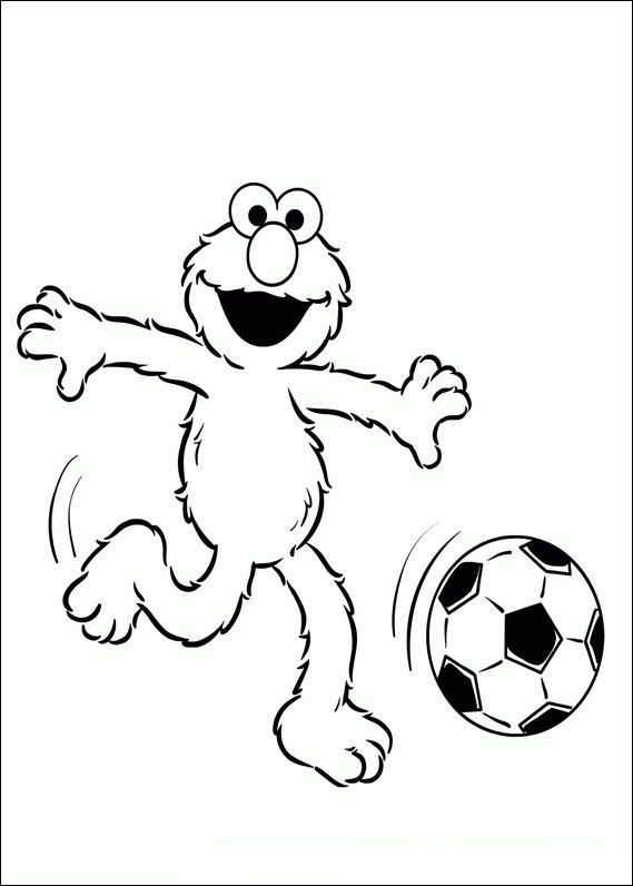elmo playing soccer elmo coloring pagescolouringkids - Elmo Coloring Page