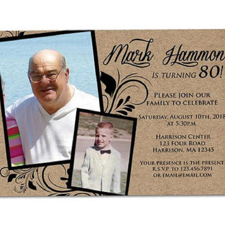 80th Birthday Invitations For A Man