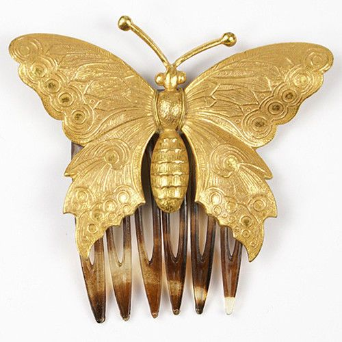 Miriam Haskell Golden Butterfly Hair Comb | eBay