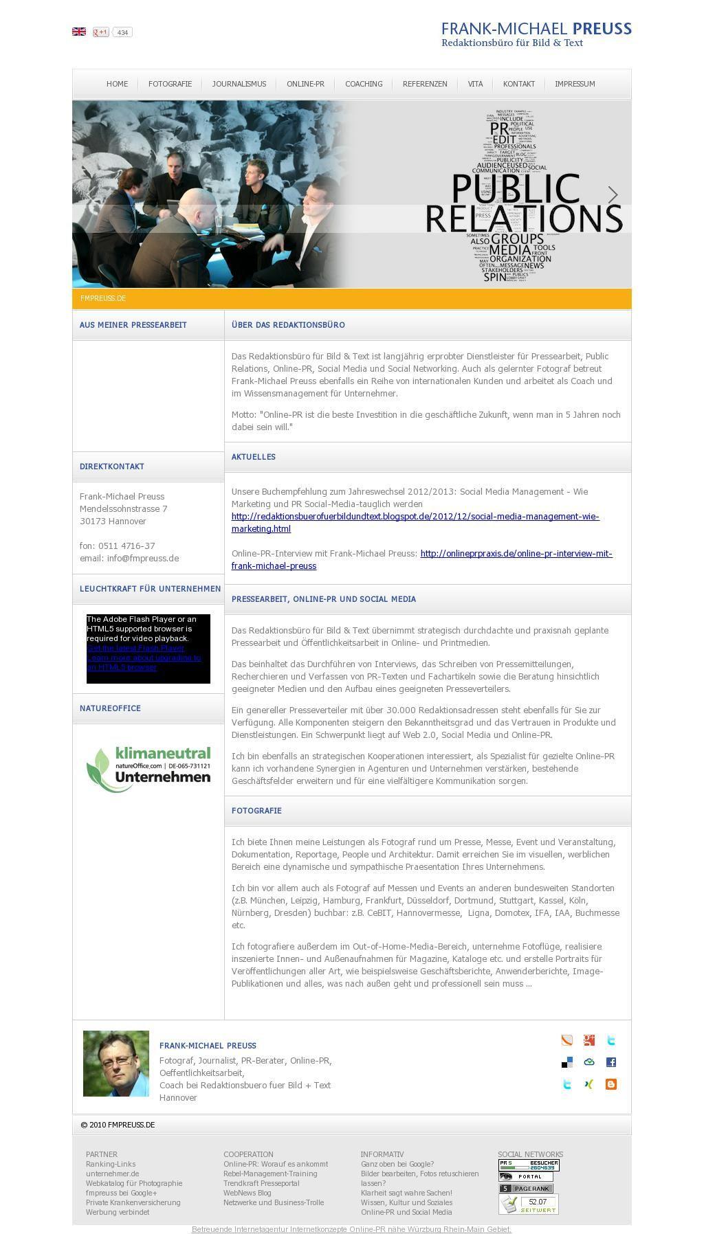 The website 'fmpreuss.de' courtesy of @Pinstamatic (http://pinstamatic.com)