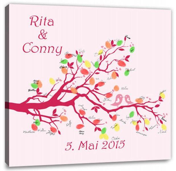 Fingerabdruck Baum - Hochzeitstauben Fingerabdruck pink ...
