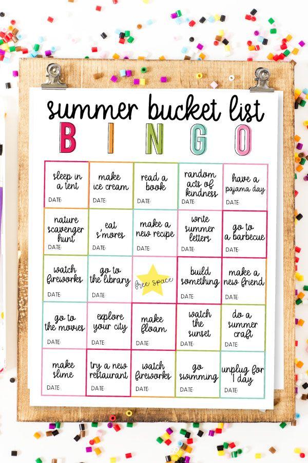 Summer Bucket List BINGO -   18 holiday Activities list ideas