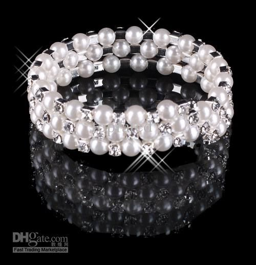 2015 Bracelets 3 Row Pearls Gilrls Lady's Prom Cocktail Homecoming Party Wedding Bridal Rhineston Simulated-pearl