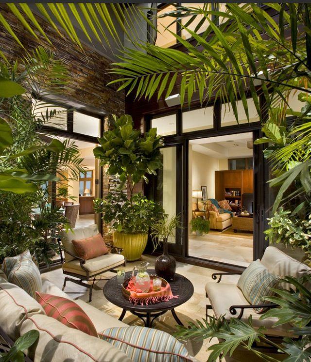 39 Pretty Small Garden Ideas: Patio Design, Tropical Patio, Outdoor Rooms