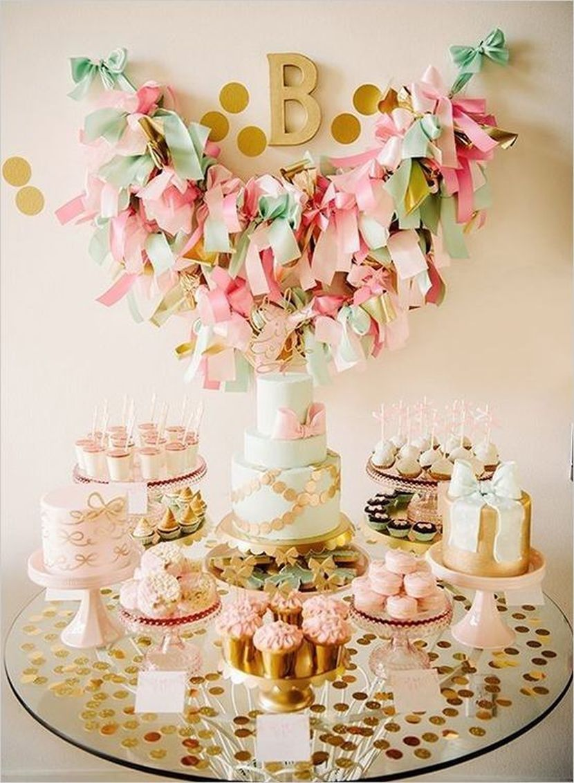 Pretty mint gold and blush dessert table setting & Bows!! . Pretty mint gold and blush dessert table setting ...