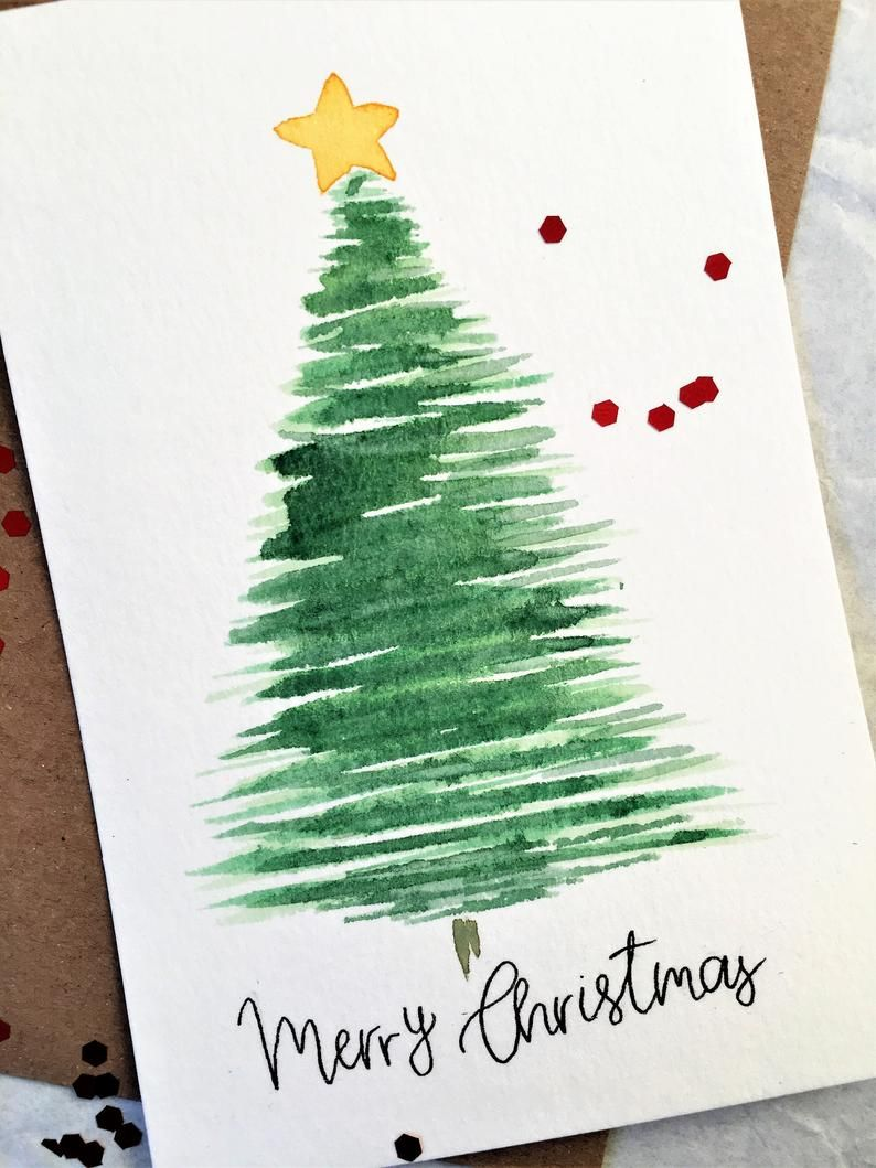Set Of 5 Cards Merry Christmas Greeting Card Handmade Card Etsy Christmas Greeting Cards Handmade Christmas Cards Handmade Watercolor Christmas Tree