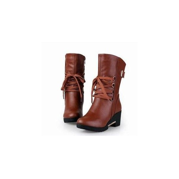 Lace-Up Hidden Wedge Boots (355 BRL) ❤ liked on Polyvore featuring shoes, boots, ankle boots, footware, lace up boots, brown lace up boots, women shoes, laced boots and hidden wedge boots