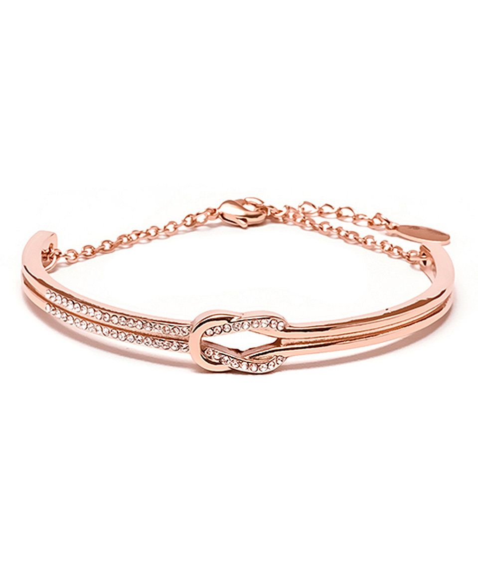 Barzel rose gold knot bracelet with swarovski crystals swarovski