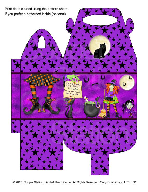 Digital Printable Halloween Witches And Goblins Treat Box