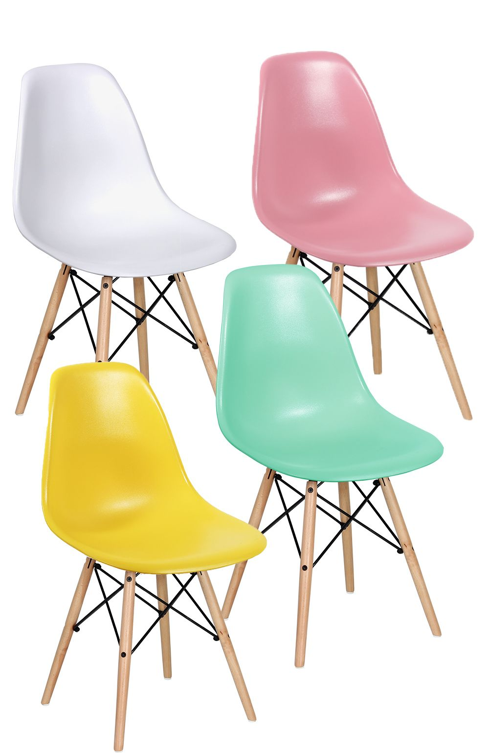 Grand Lot 4 Chaises DSW Pastel + 4 Coussins DSW Blanc Chaise Charles Eames, Chaise  Dsw