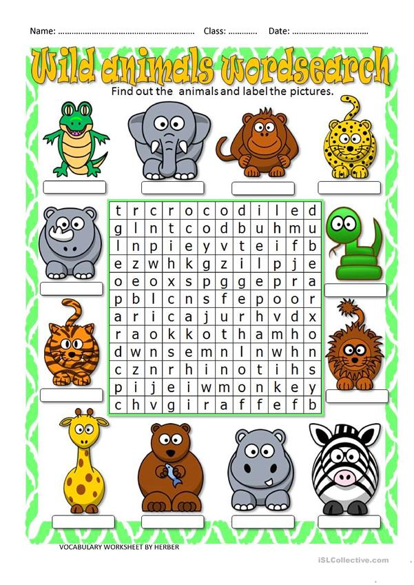 Wild Animals Wordsearch English Esl Worksheets In 2020 Animals