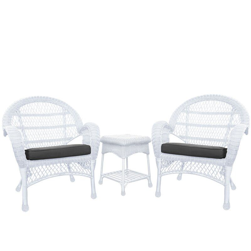 Mangum 3 Piece Conversation Set With Cushions Ad Affiliate Paid Piece Cushions Set Mangum White Wicker Chair Wicker Chair White Wicker